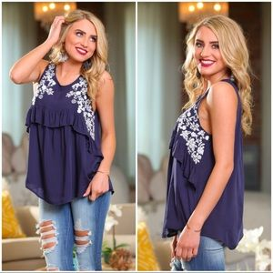 😻COMING SOON😻 Navy Embroidered Sleeveless Ruffle